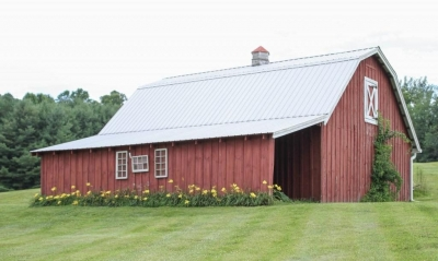 traditional red wooden barn for backdrop