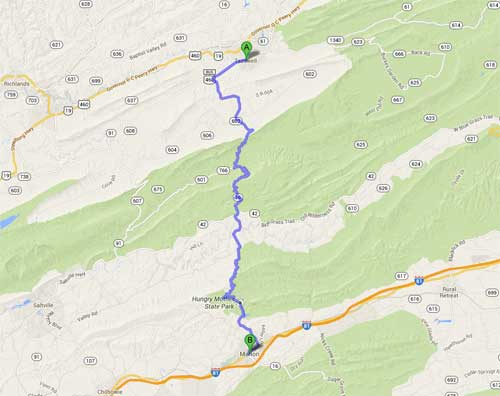 Map of Back of the Dragon, Tazewell, Virginia