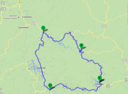 NC-281 and NC-107 Loop From Lake-Toxaway to Cashiers, NC - Google Map