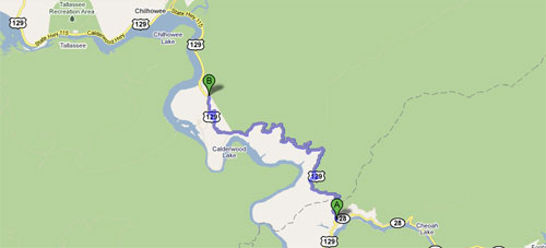 Tail Of The Dragon - U.S. Rt. 129 - Deal's Gap to Chilhowee Lake - Google Map
