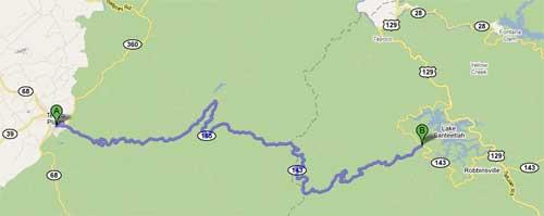 Cherohala Skyway - Tellico Plains to Santeetlah Gap - Google Map