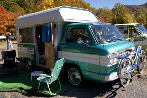 Picture of a Green Chevrolet Corvair Camper With a Corvair Bicycle ...