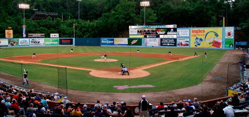 Asheville Tourists Double Header Baseball Game Blue