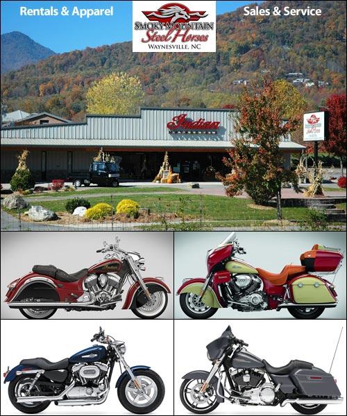 Motorcycle Rentals at Smoky Mountain Steel Horses, Waynesville, NC