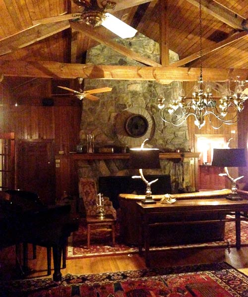 Picture of the huge Stone Fireplace in the Lounge at the Lodge on Lake Lure
