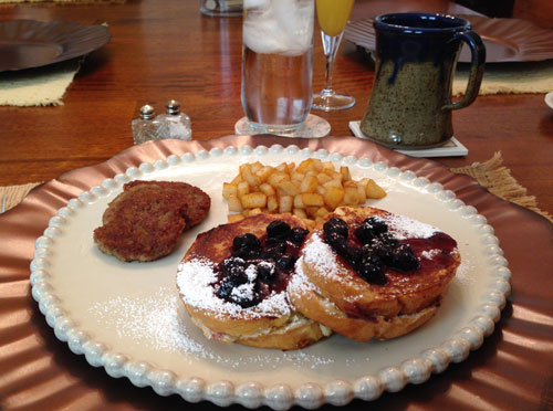 Stuffed Blueberry French Toast at the Vintage Inn, Yadkinville, North Carolina