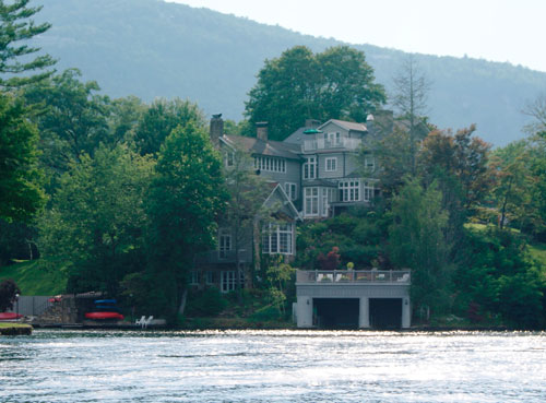 View of Greystone Inn from Miss Lucy Champagne Cruise on Lake Toxaway
