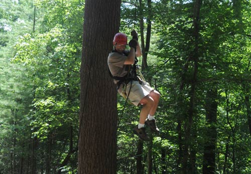 Rappelling at French Broad Rafting and Ziplines
