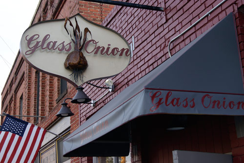 Photo Outside the Glass Onion Restaurant in Weaverville, NC