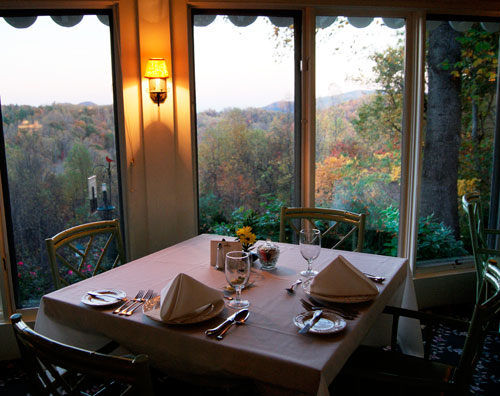 Table for two with a view, at Newman's Restaurant in Saluda, NC.