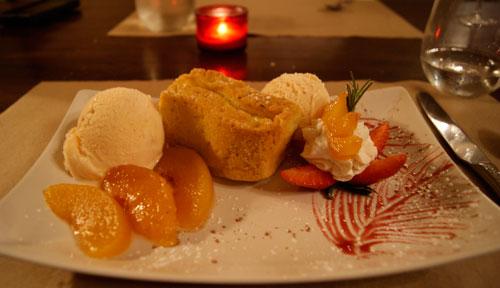 Marco Trattoria Peach Gelato and Cake Dessert
