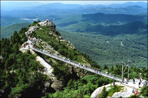 Grandfather Mountain Swinging Bridge Aerial Photo