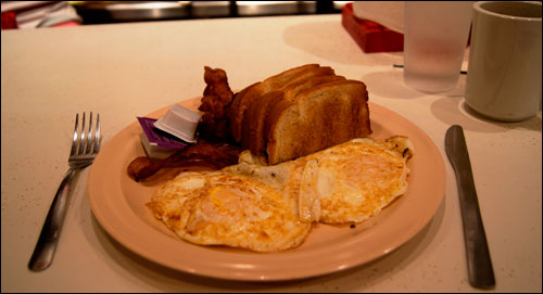 Delicious Bacon and Eggs Breakfast at Ward's Grill in Saluda, NC