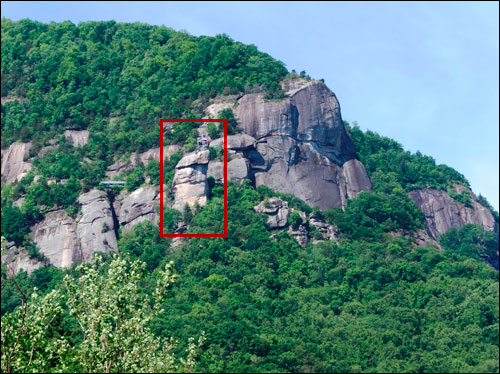 The Chimney at Chimney Rock park from a distance