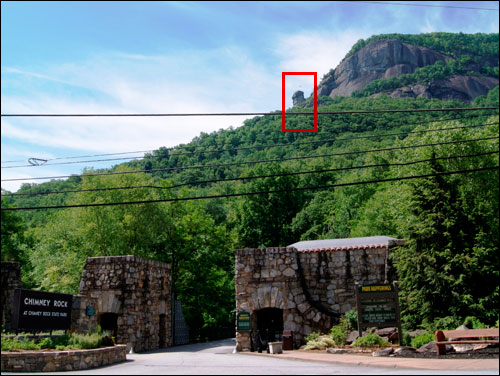 The entrance to Chimney Rock Park